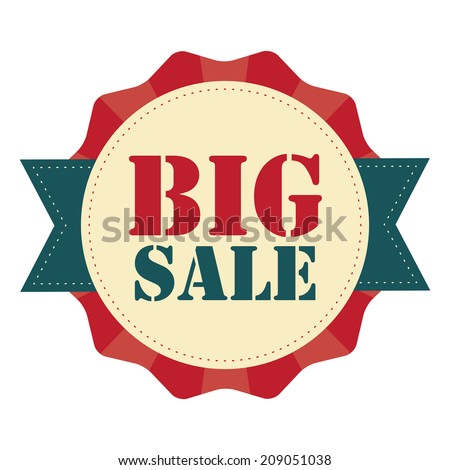 Big Sale on Red Vintage Badge, Icon , Sticker Isolated on White