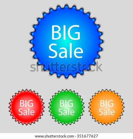 Big sale sign icon. Special offer symbol. Set of colored buttons. illustration