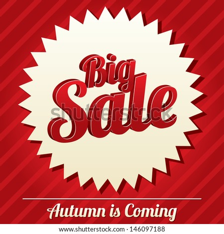 Big sale tag. Bright sticker. Icon for special offer. Autumn is coming. - stock photo