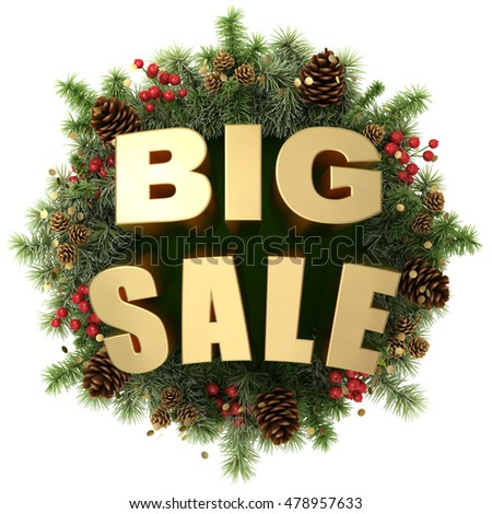 Big sale words with christmas wreath isolated on white