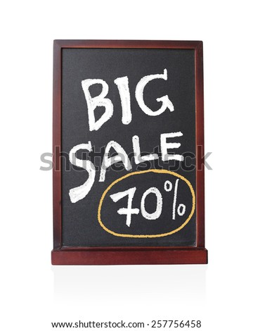 Big sale 70 % written on chalkboard isolated object - stock photo