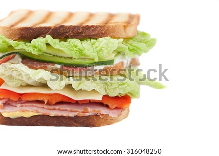 big sandwich on a white background - stock photo