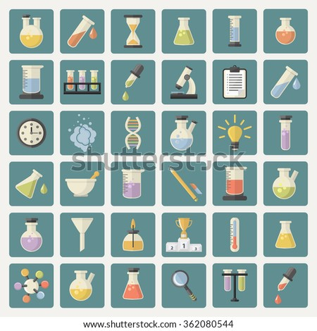 Big Science and research Web Icons set.Chemistry industry for learning and web applications.Hourglass,lamp,DNA,thermometer,burner,watches, pestle,pipette,cup,microscope,funnel, steam, magnifying glass - stock photo