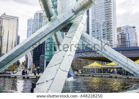 Big sculpture in the harbour of Vancouver - VANCOUVER / CANADA - APRIL 12, 2017