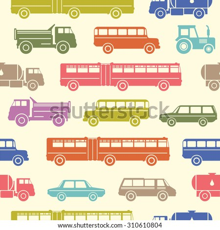 Big seamless baby background with colorful retro flat car icons