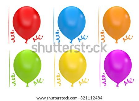 Big Set Balloons, Isolated On White Background - stock photo