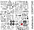 Big set Internet doodles - stock vector