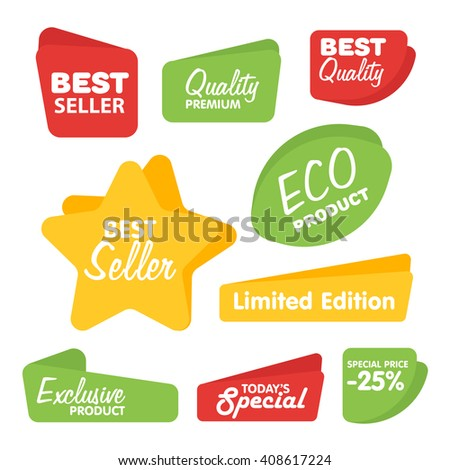 Big Set of Bitmap Label, Sticker, Tags. Collection Colorful Abstract Label and Sticker. Blank Label of Modern Style. Best seller, eco product, quality and other icon. - stock photo