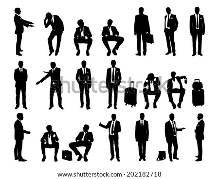 big set of black and white silhouettes of a businessmen standing and sitting in different postures, face and profile views