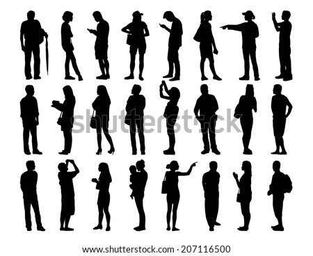 big set of black silhouettes of asian men and women of different age standing in various postures