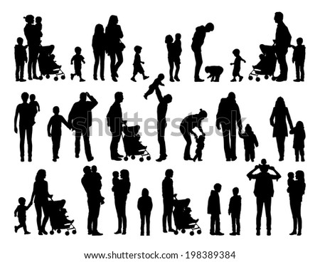 big set of black silhouettes of families with young children in different postures
