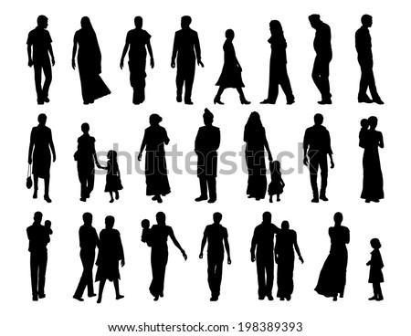 big set of black silhouettes of indian men, women and children standing and walking