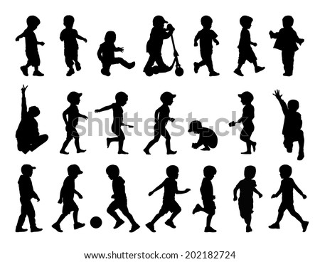 big set of black silhouettes of little boys in summer clothes walking, running, playing and sitting in different postures