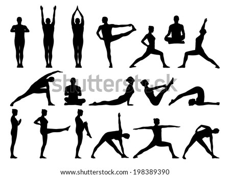 big set of black silhouettes of man and woman practicing yoga in different postures standing and on the floor - stock photo