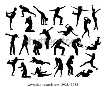 big set of black silhouettes of men and women in action, jumping, falling, making sport and exercises, dancing,  front and profile views