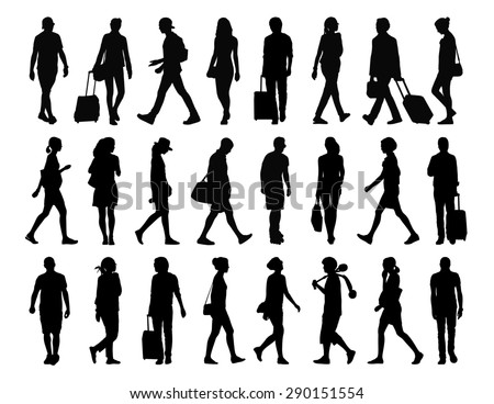 big set of black silhouettes of ung adult men and women walking in the street, front, profile and back views - stock photo