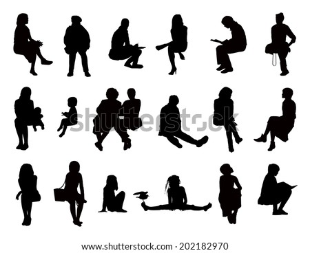 big set of black silhouettes of women of different ages seated reading, speaking, writing, talking on the phone, carrying about their children or just watching, front and profile views - stock photo