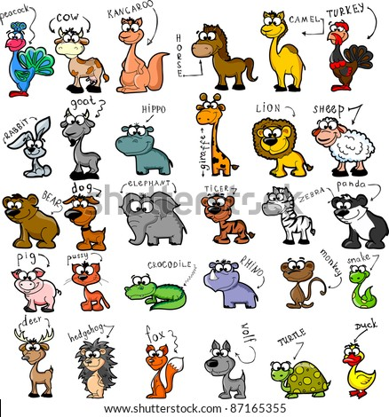 Big set of cartoon animals - stock photo