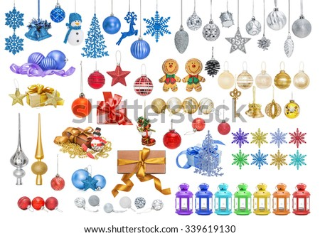 Big set of Christmas baubles for Christmas tree, pine, spruce, balls, snowflakes, bells, reindeer, snowman, gift, tip, top, key isolated on white - stock photo