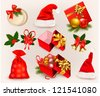Big set of Christmas icons and objects. Raster version of vector. - stock photo