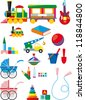 Big set of colorful children's toys isolated on white background. Raster version - stock photo