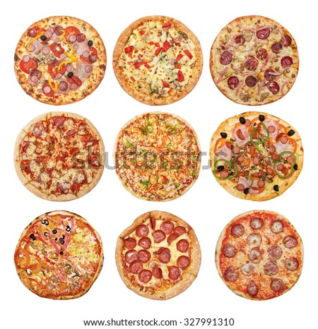 Big set of different pizzas: Pepperoni's, Hawaiian, Mexican, Meat, Italian, Florentina, Bonanza, Barbecue, Margarita  isolated on white background - stock photo