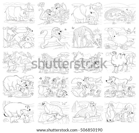 Big set of different wild animals. Collection of cute African,  Arctic and woodland animals. Illustration for children. Coloring book. Coloring page. Funny cartoon characters.