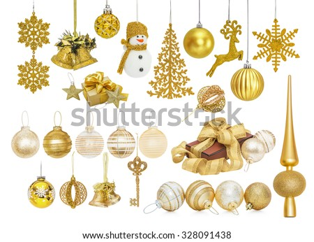 Big set of golden Christmas New Year baubles for Christmas tree ornaments, pine, spruce, balls, snowflakes, bells, reindeer, snowman, gift, tip, top, key isolated on white - stock photo