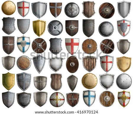 Big set of medieval knight shields isolated 3d illustration  - stock photo