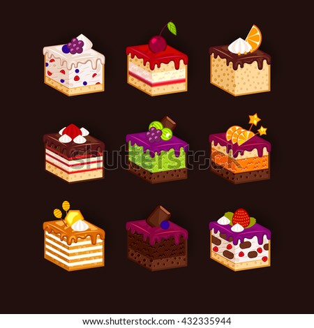 Big set of pieces of cake. Raster flat illustration.