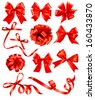 Big set of red gift bows with ribbons. Raster version of vector.  - stock vector