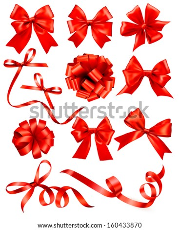 Big set of red gift bows with ribbons. Raster version of vector.  - stock photo