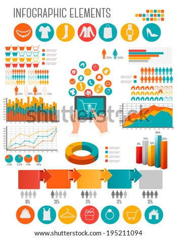 Big set of Shopping infographics elements. Raster version. - stock photo