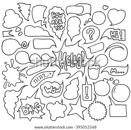 Big set of  speech and think bubbles. Doodle cartoon comic bubbles isolated on white background.Hand-drawn illustration organized in groups for easy editing. - stock photo