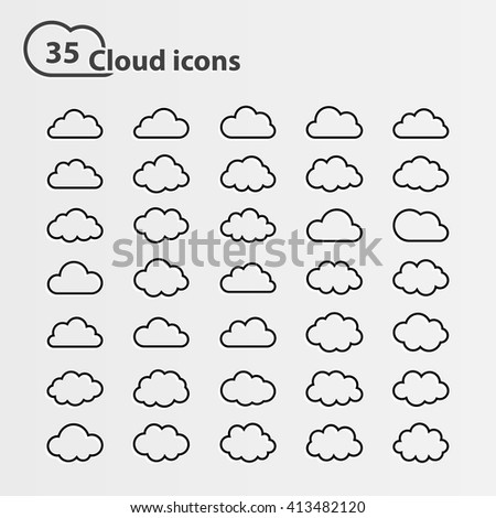 Big set of thirty five cloud shape White cloud shape,black line cloud shape,black cloud shape,cloud icons, sign for web and app, for cloud computing and so on, isolated on a white background - stock photo