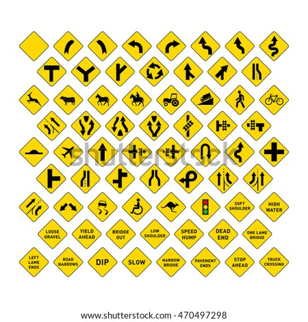 Big set of yellow road signs isolated on white