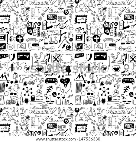 big set simplified design elements doodle icons, hand drawn background, texture and 	 pattern (set 2) - stock photo