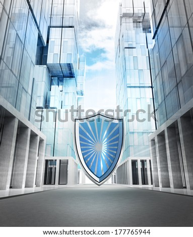 big shield protection in new modern business city street illustration - stock photo
