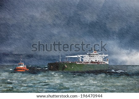 Big ship on sea during a heavy storm with rain. - stock photo