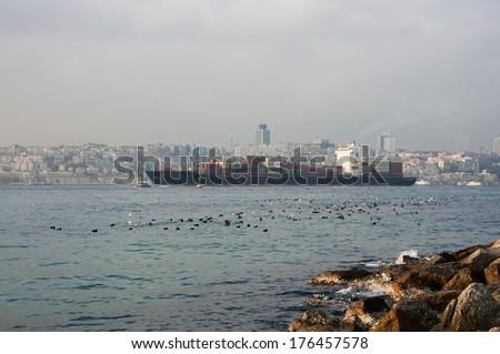 big ship sails on the Bosphorus - stock photo