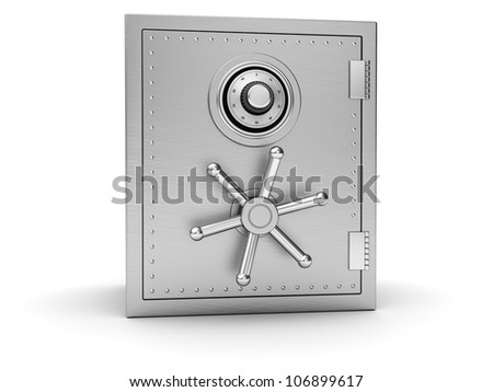 Big silver safe isolated on white background