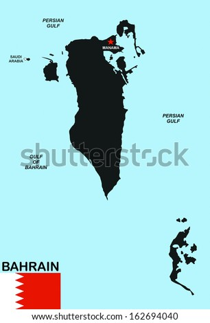 big size black map of bahrain with flag