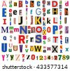 Big size collection of colorful newspapers, magazines letters isolated on a white background. Anonymous alphabet - stock photo