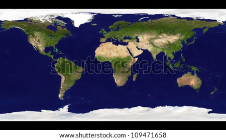 Big size physical world map illustration - stock photo