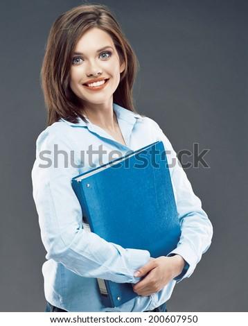 Big smile Business woman Studio Portrait. Blue paper folder. - stock photo