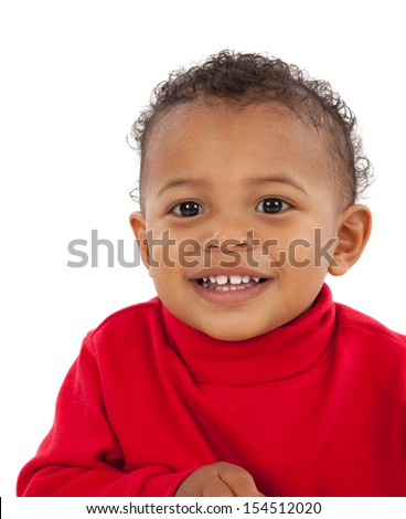 Big Smiling Adorable African American Boy on Isolated White Background - stock photo