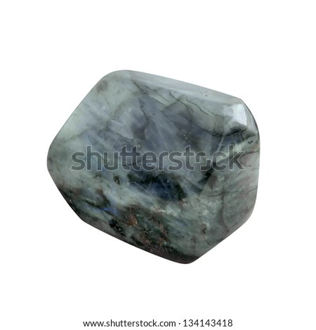 Big smooth, processed, crystal (gemstone) on white background