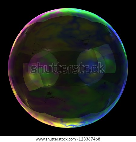 Big soap bubble on the black background - stock photo