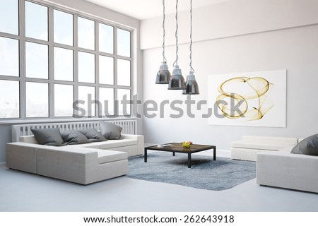 Big sofa with carpet in living room in a modern loft (3D Rendering) - stock photo