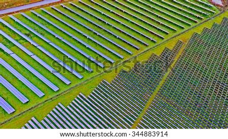 Big solar power plant - stock photo